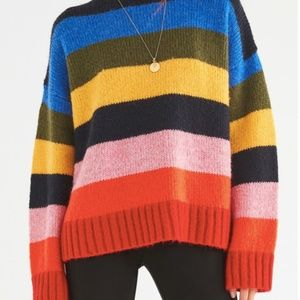 Urban Outfitters Kari Rainbow Striped Sweater